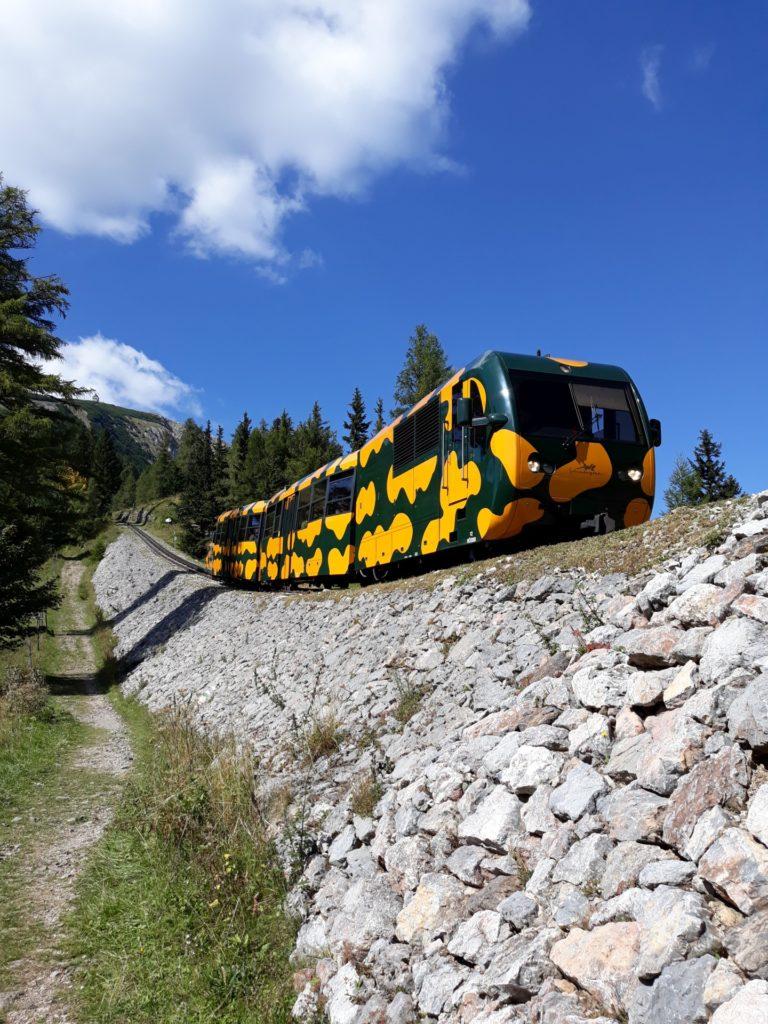 Mit der Schneebergbahn gehts auch bergab flott voran - Bahn, Bahntrasse, Bäume, Herbst, Himmel, Pfad, Salamander, Schneeberg, Schneebergbahn, SchneebergBlog, Steine, Trasse, Weg, Wolken, Zahnradbahn - (Schneeberg, Puchberg am Schneeberg, Niederösterreich, Österreich)