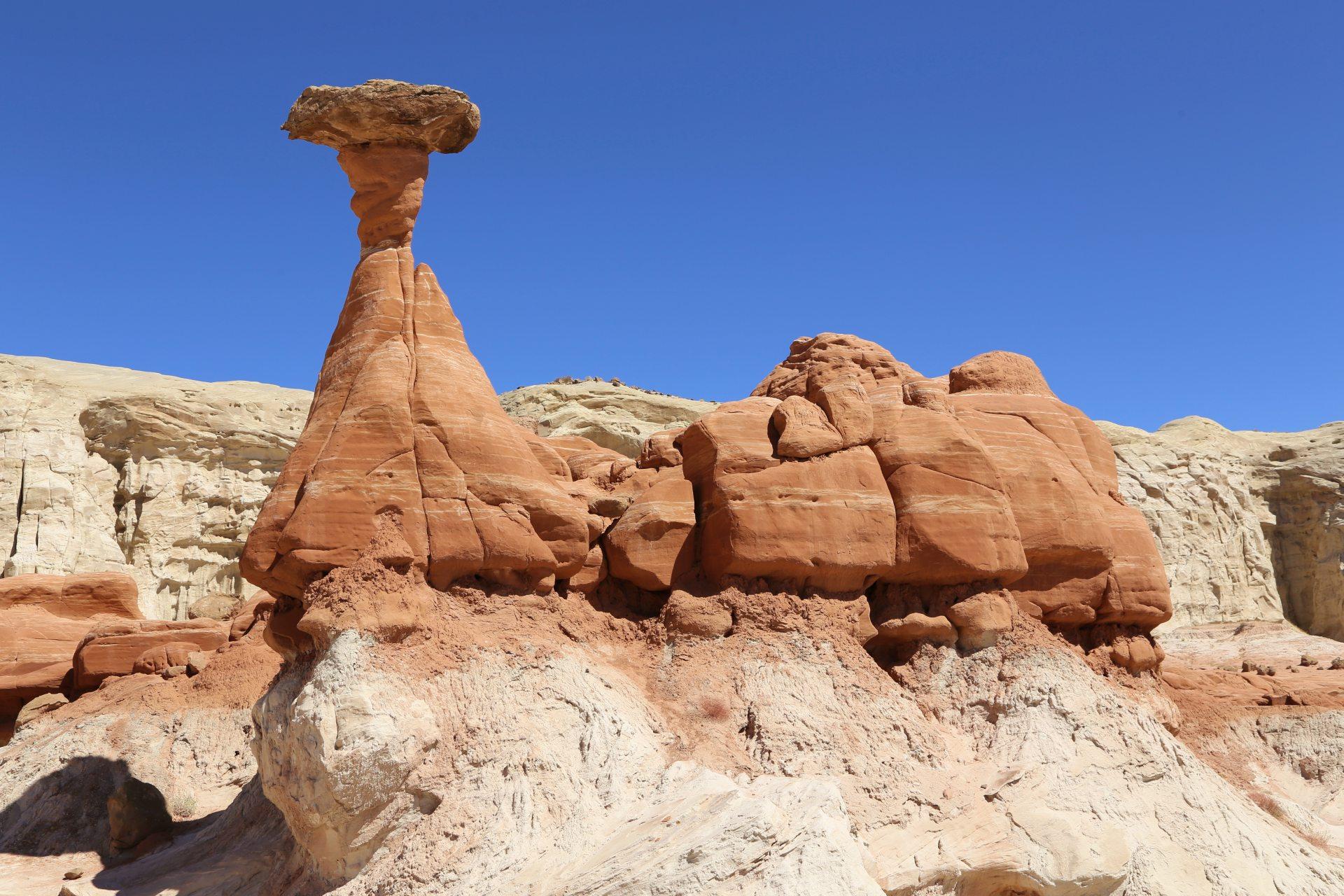 Ein versteinerter Dinosaurier? Oder doch ein Toadstool Hoodoo? - Farben, farbenfroh, Felsformationen, Felslandschaft, Felsnadeln, Geologie, Gesteinsschichten, Grand Staircase Escalante National Monument, GSENM, Himmel, Hoodoos, Monolithen, Paria Rimrocks, Sandstein, Sandsteinformationen, Steinmännchen, Toadstool Hoodoos, Utah - (Paria, , Utah, Vereinigte Staaten)