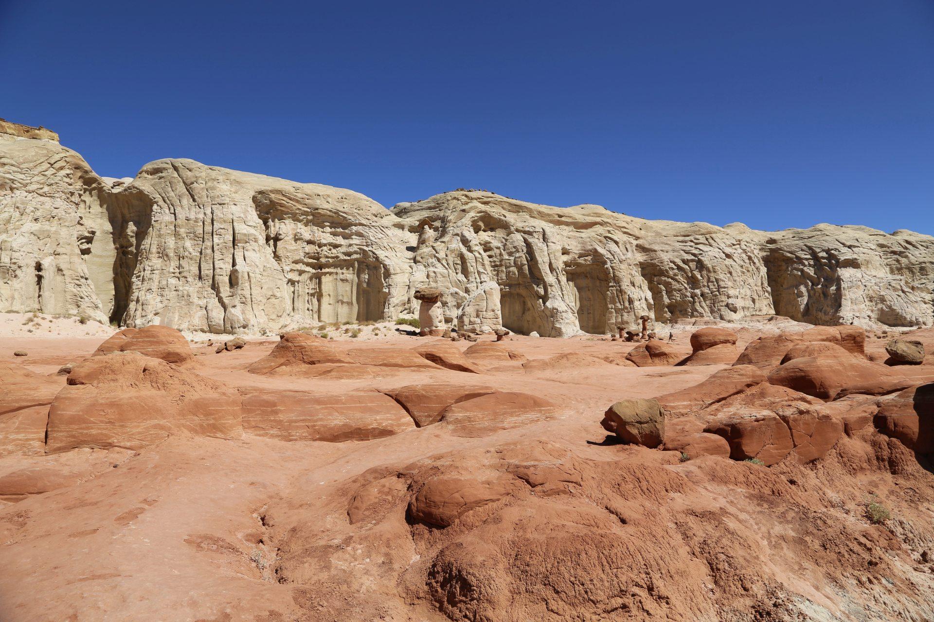 In dieser imposanten Umgebung schießen die Toadstool Hoodoos wie Schwammerl aus dem Boden! - Farben, farbenfroh, Felsformationen, Felslandschaft, Geologie, Gesteinsschichten, Grand Staircase Escalante National Monument, GSENM, Himmel, Paria Rimrocks, Sandstein, Sandsteinformationen, Toadstool Hoodoos, Utah - (Paria, , Utah, Vereinigte Staaten)