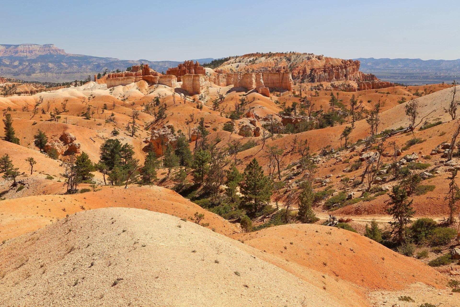 Bryce Canyon in allen Farben - Aussicht, Bryce Canyon National Park, Canyon, Erosion, farbenfroh, Felsnadeln, Fernsicht, Geologie, Gestein, Gesteinssäulen, Himmel, Hoodoos, Landschaft, Monolithen, Natur, Panorama, Queens Garden Trail, Sandstein, Utah - (Bryce Canyon, Bryce, Utah, Vereinigte Staaten)